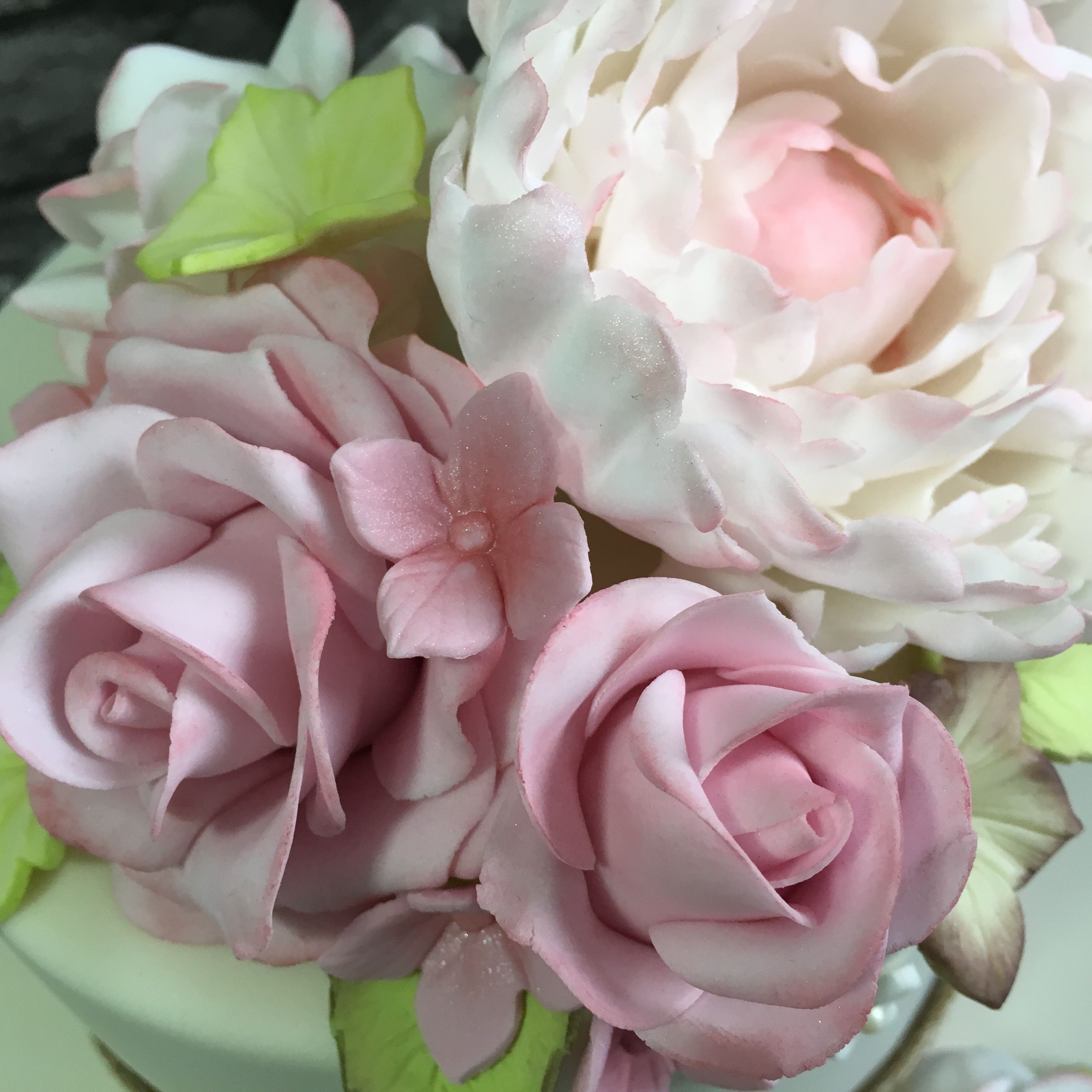 Vintage Wedding Cake Roses and Peony detail https://www.facebook.com/CalsCakeCreations/