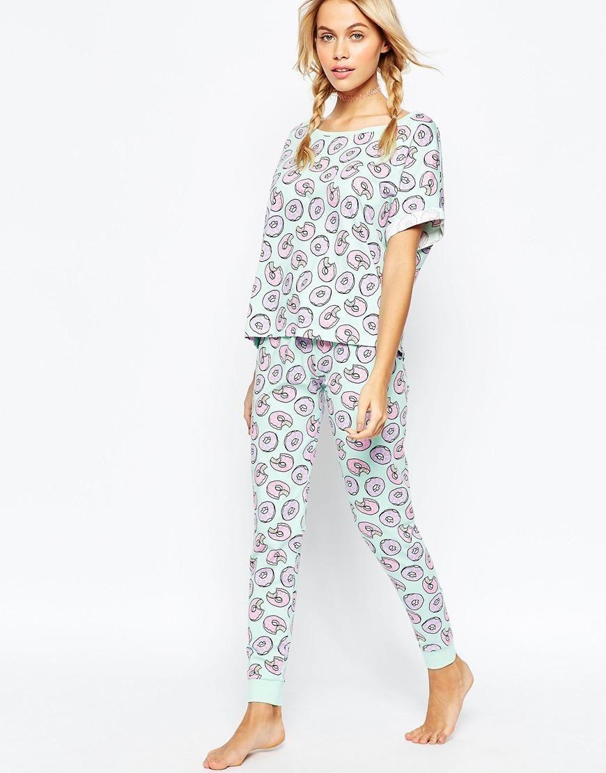 ASOS Donut Print Tee & Legging Pyjama Set at asos.com