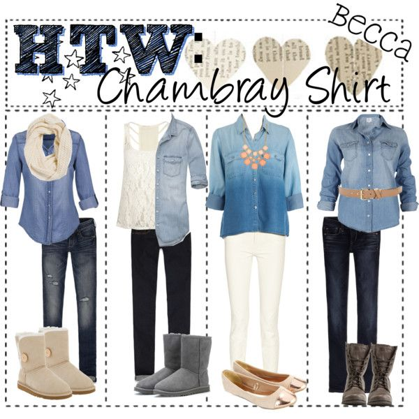 HOW TO WEAR: Chambray Shirt by tip-chicks on Polyvore featuring GUESS,  Abercrombie