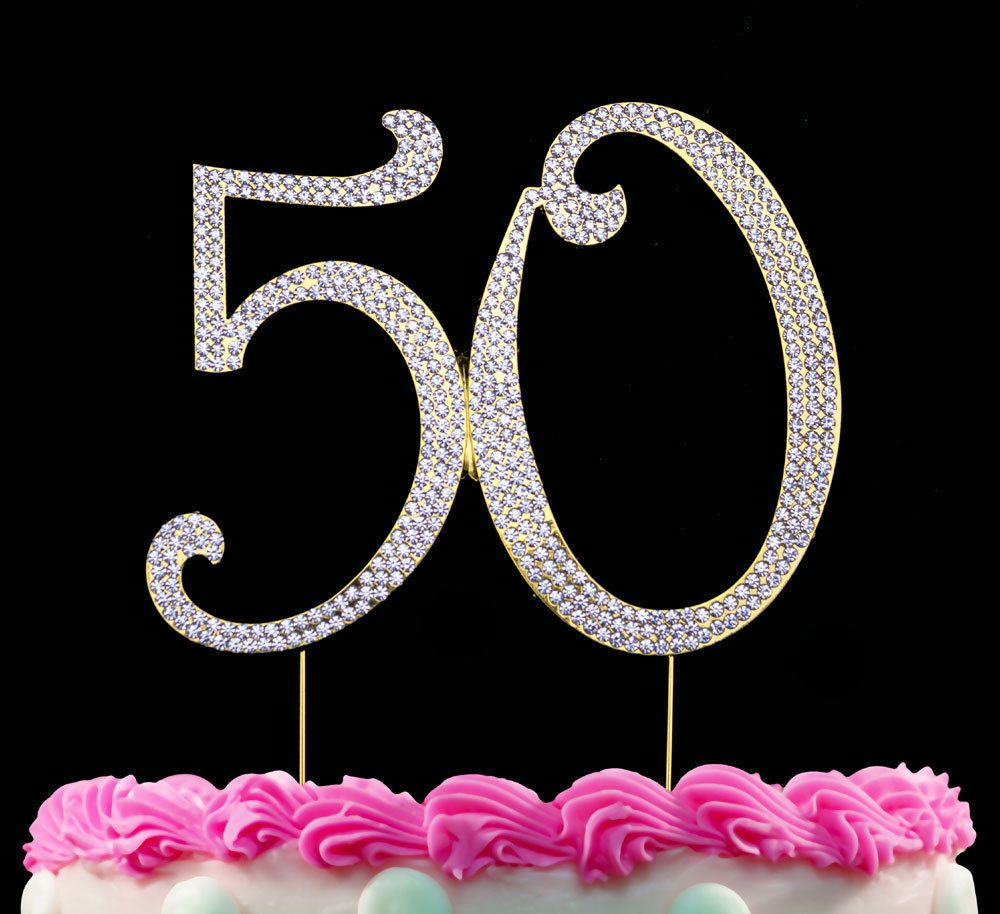 Gold 50 Cake Topper Bling 50th Birthday Toppers Anniversary Link