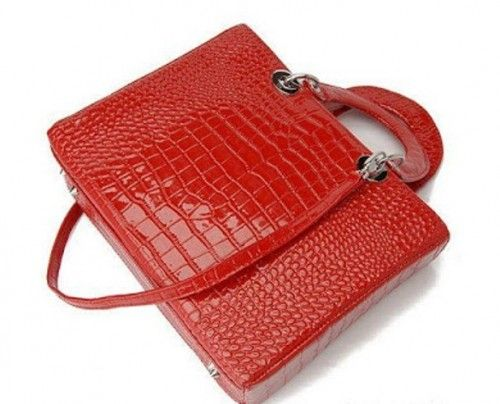 Large-Dior-Lady-Dior-Red-Croc-Leather-Tote- Bag