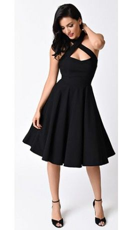 0fedd8725c9e2 Collectif 1950s Style Black Penny Halter Flare Dress