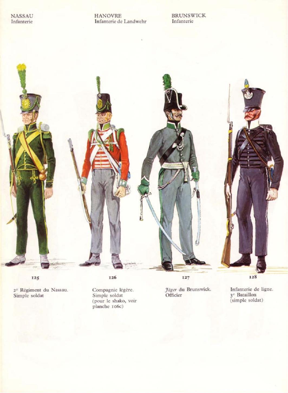 Fuciliere del 2 btg. fanteria Nassau, fuciliere della compagnia leggera di un rgt. fanteria dell'Hannover, ufficiale e cacciatore del 2 btg. fanteria del ducato di Brunswick