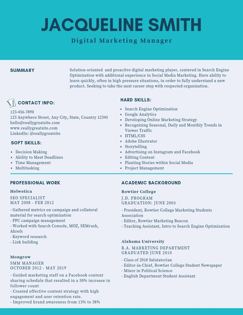 make social media marketing cv digital marketing resume format best for template websites