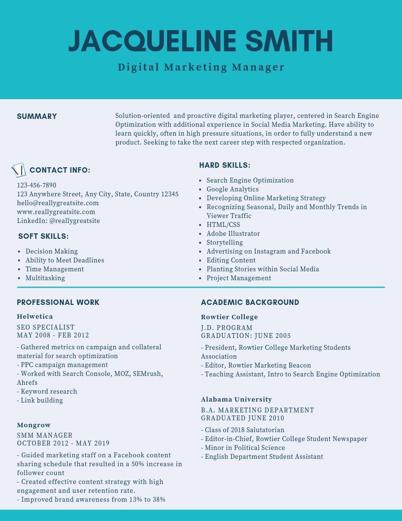 Digital Marketing Manager Resume Samples Templates Pdf Doc 2021 Digital Marketing Manager Resumes Bot Digital Marketing Manager Marketing Resume Manager Resume