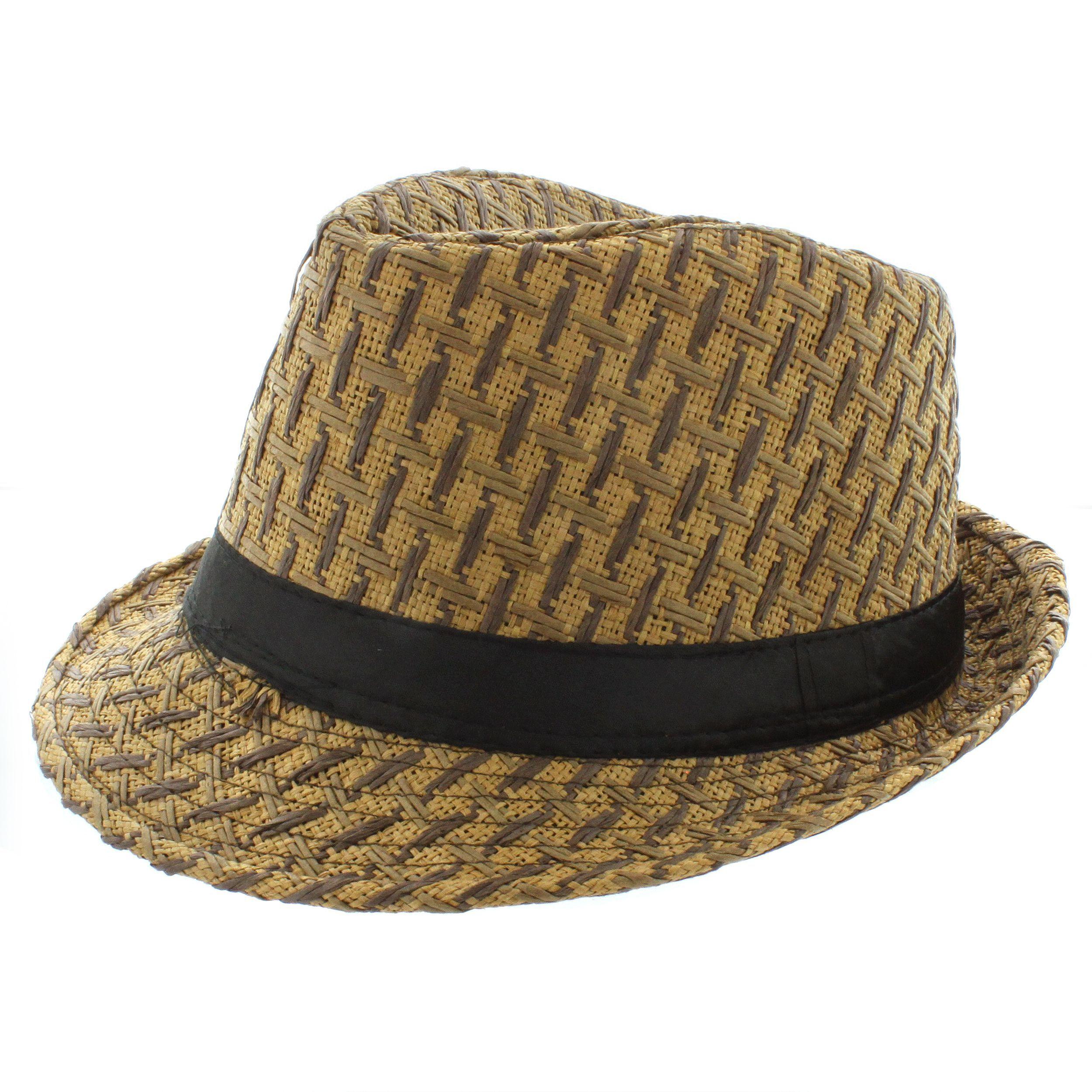 b115865410d Mens Summer Fedora Brown Stripe Band Cuban Style Upturn Short Brim Hat-S M