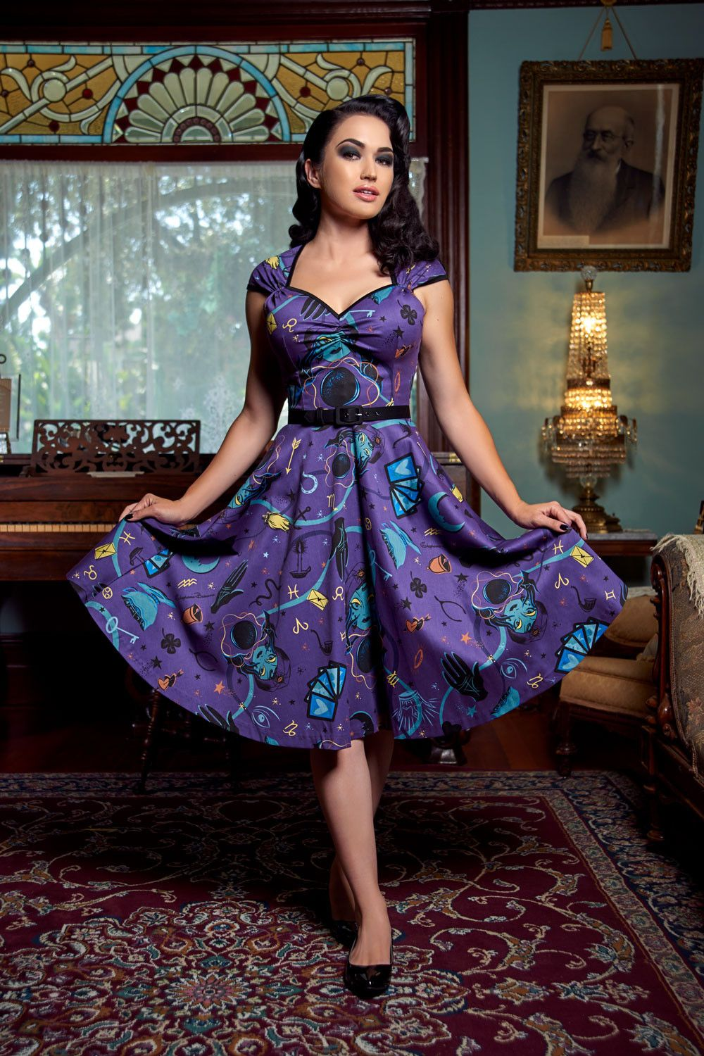 Pinup couture heidi dress in fortune teller print pinterest