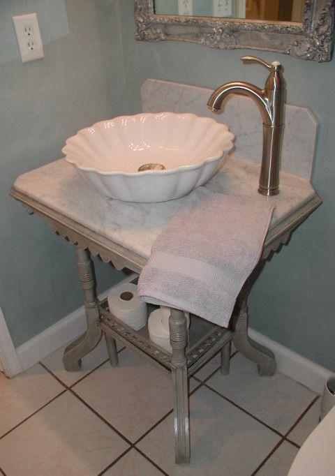 Project table to bathroom vanity 2 White vessel sink, Vessel sink - Vessel Sinks Bathroom
