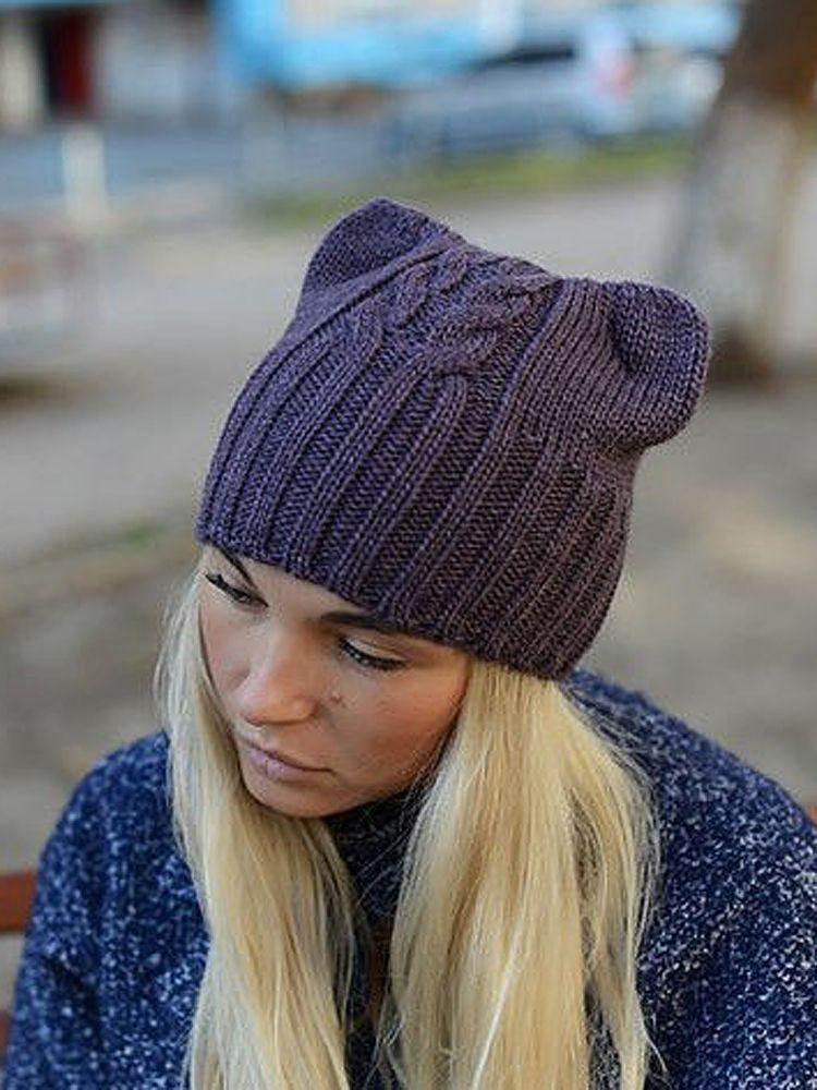 Женская молодежная шапка с ушками Кошка  bc4c289426eeb