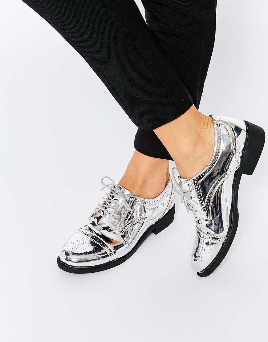 ASOS MAKE WAVES Brogues at asos.com. Silver BroguesSilver ShoesOxfordsOxford  ShoesFlat ...
