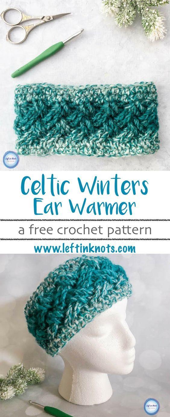 Celtic Winters Ear Warmer Crochet Pattern | Patrones de puntos ...