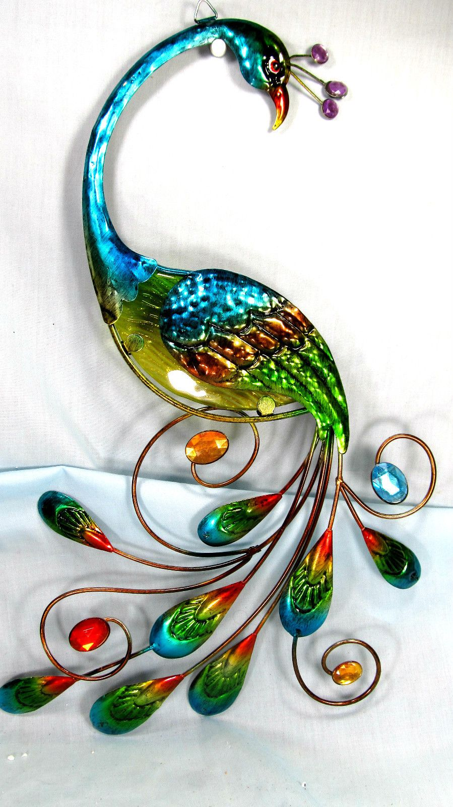 Peacock metal and glass wall hanging art teal home decor bedroom