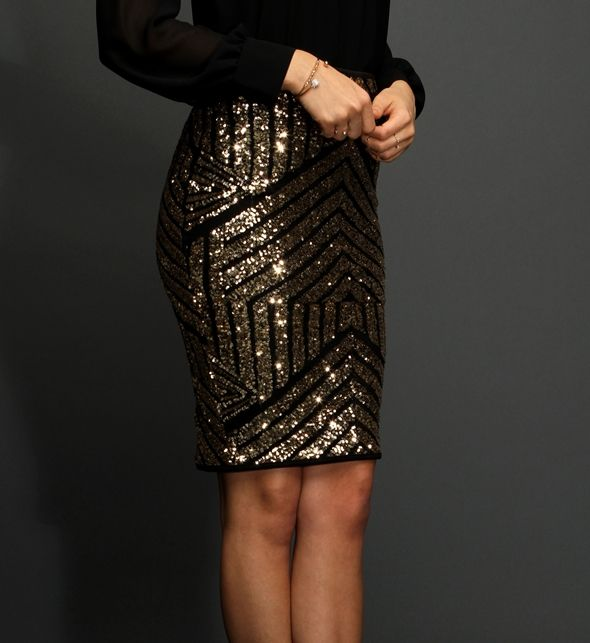 Gold Geometric Sequin Pencil Skirt from Windsor | Clothing ...