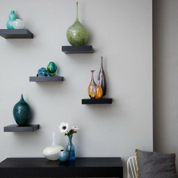 Regale wohnzimmer offen asymmetrisch wandregale wall for Wandregal dekorieren
