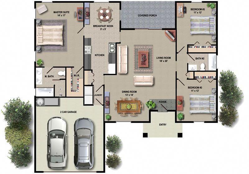 Example House Plans 3 Bedroom End Of Terrace Built To Bungalow House Floor Plans Open Floor House Plans House Floor Plans