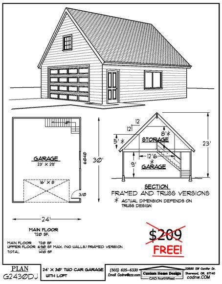 24 39 x 30 39 two story garage garage plans pinterest for How much to build a garage with loft