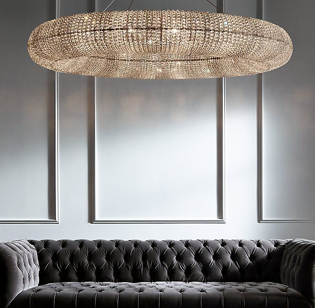 Rh Modern S Crystal Halo Chandelier 59 34 Inspired By A Stunning Antique French Chandelier From The Halo Chandeliers Crystal Halo Crystal Chandelier Lighting