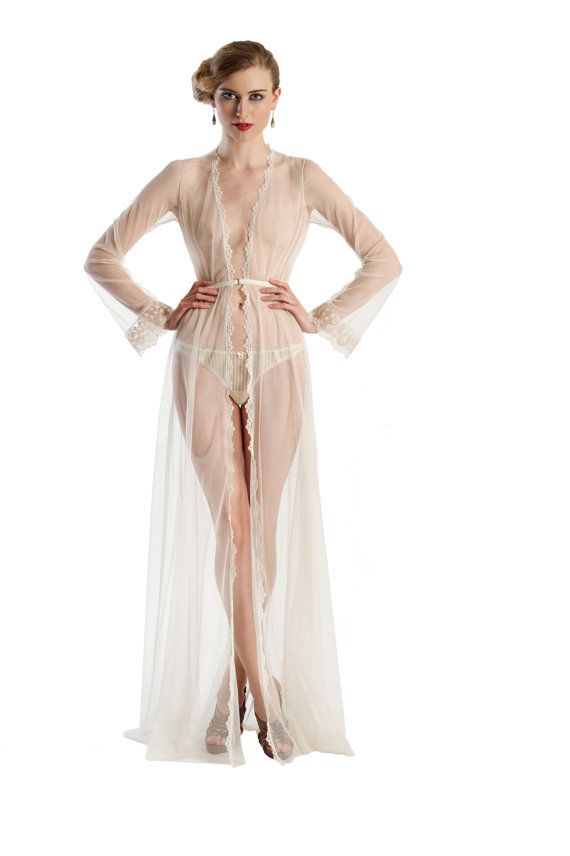 clair de lune robe in ivory mesh and lace - sheer white floor