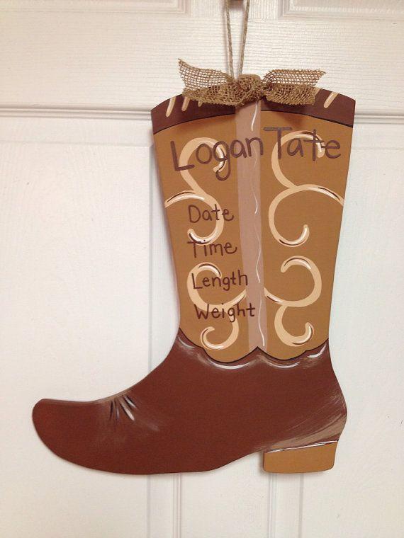 Cowboy Boot Baby Birth Announcement Door Hanger By Doorblingz 40 00