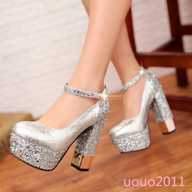 2d5d82a219b Sexy Womens Platform High Block Heel Sequins Ankle Strap Wedding Party Shoes  Sz