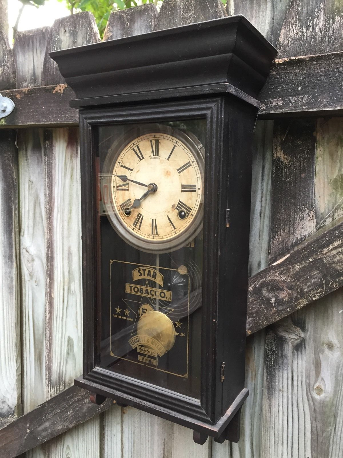 Star Tobacco Antique Miniature Regulator Wall Clock By Sessions Wall Clock Clock Antiques