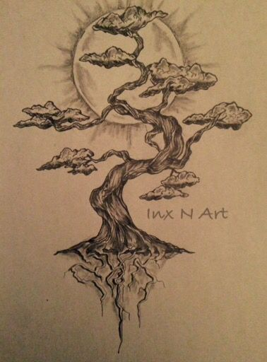 Bonsai tree mural sketch by ranz pinterest bonsai for Arm mural tattoos