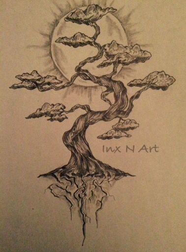 Bonsai Tree Tattoo : bonsai, tattoo, Bonsai, Mural, Sketch, Tattoos,, Tattoo, Designs,