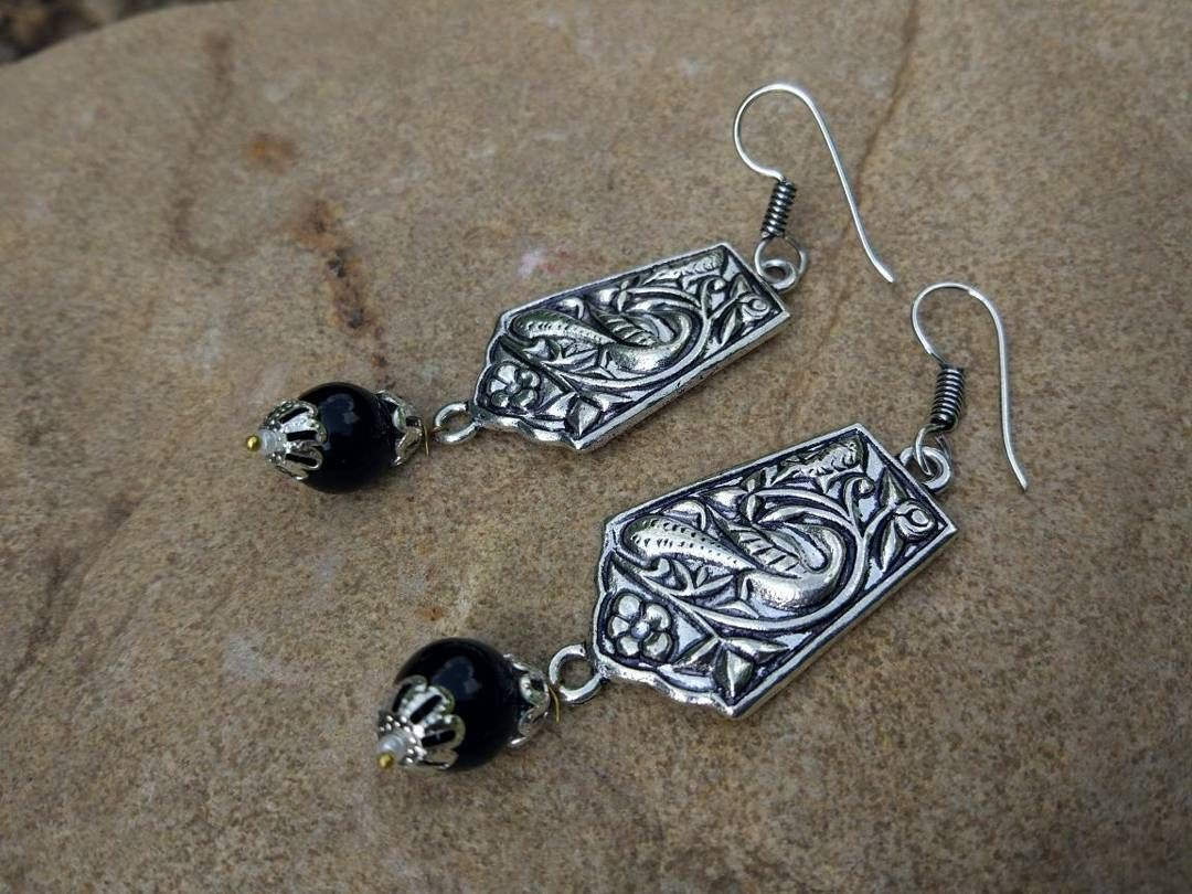 Beautiful Silver Color Earring with Black Bead <3<3 #fashioncrab ...