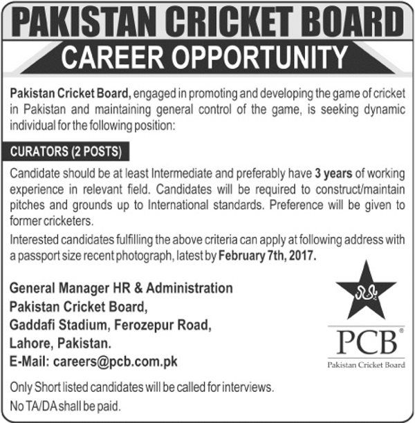 Job Title Pakistan Cricket Board Jobs  For Curators Job