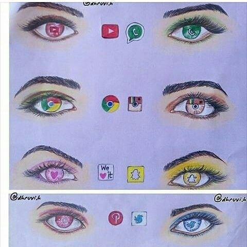 Youtube Whatsapp Google Chrome Instagram We Heart It Snapchat Pinterest Twitter As Eyes Draw Social Media Art Creative Drawing Social Media Drawings