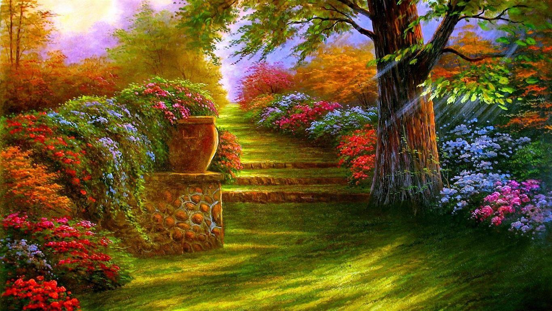 Beautiful Colorful Garden Painting Spring Garden 3d Landscape Landscape Wallpaper Nature Wallpaper Garden Painting