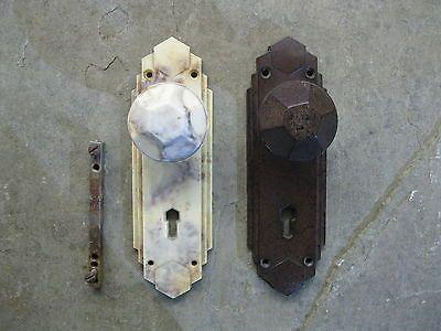 Pr original 1930\'s art deco #bakelite #walnut #/marbel door knobs ...