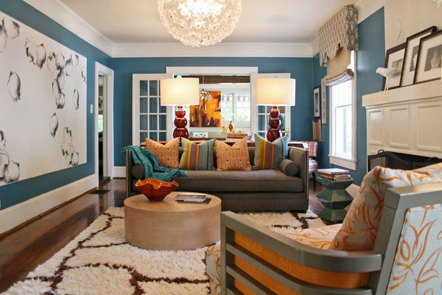 Eclectic Living Room. Grey Couch. Bright Pillows. Blue Wall. Part 36