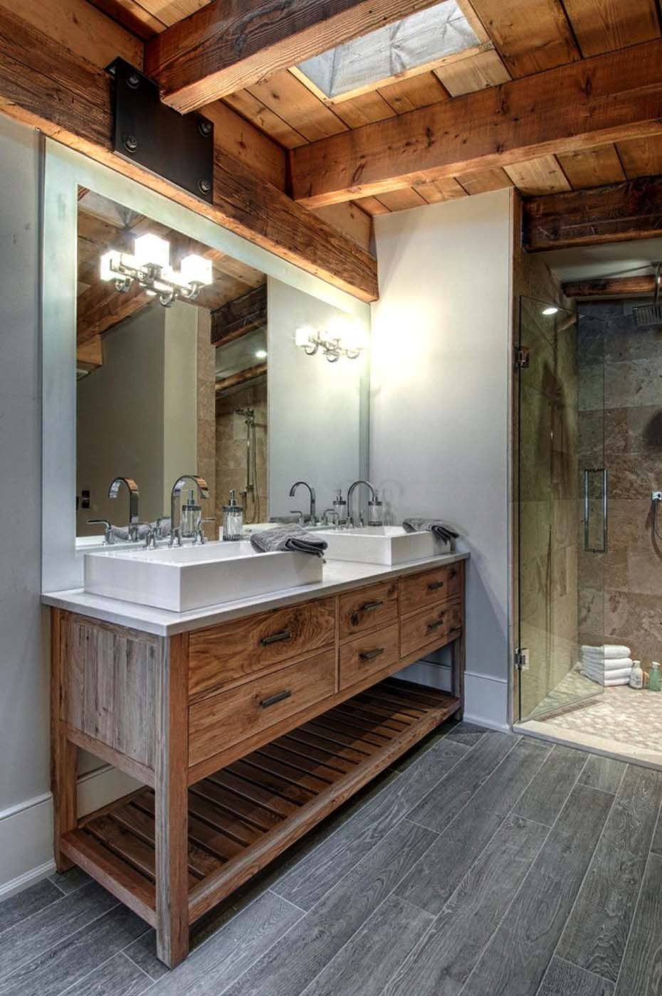 Luxury Canadian Home Reveals Splendid Rustic-modern Aesthetic Bathrooms Modern