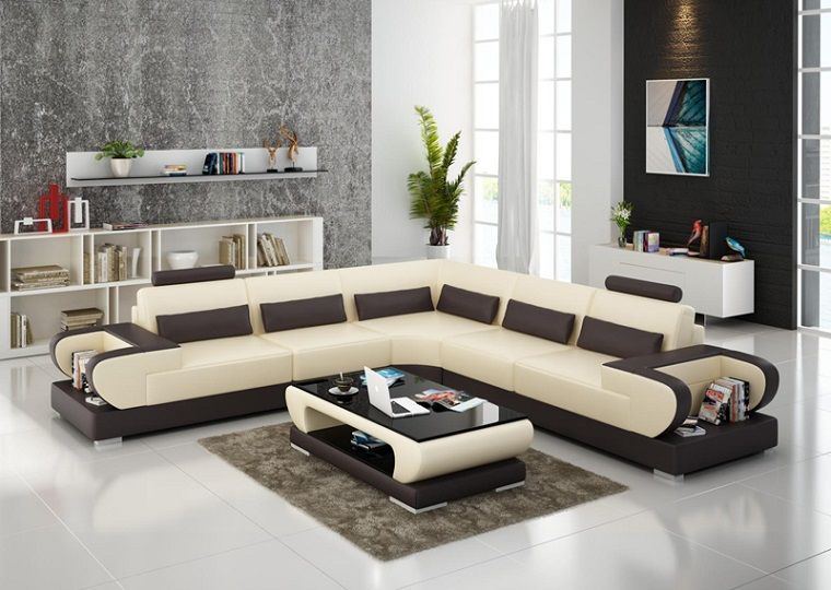 Arredare il soggiorno con un divano angolare di colore beige e ...