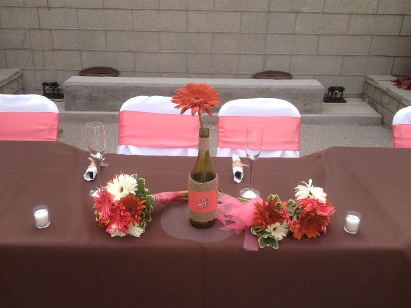 Rustic Wedding Dcor With Coral Reef Sashes Chocolate Table Covers Wine Bottle Centerpieces