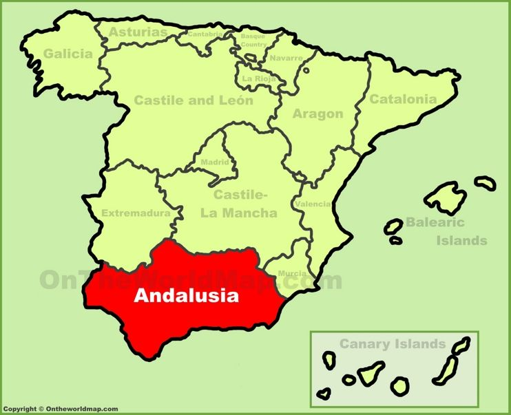 Andalusia location on the Spain map Maps Pinterest Andalusia