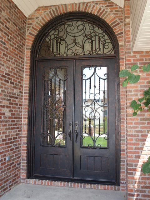 Full Lite Square Top Square Glass Double Iron Door With Half Round Transom 72 X96 Midwest Iron Doors Iron Doors Double Front Entry Doors Front Entry Doors