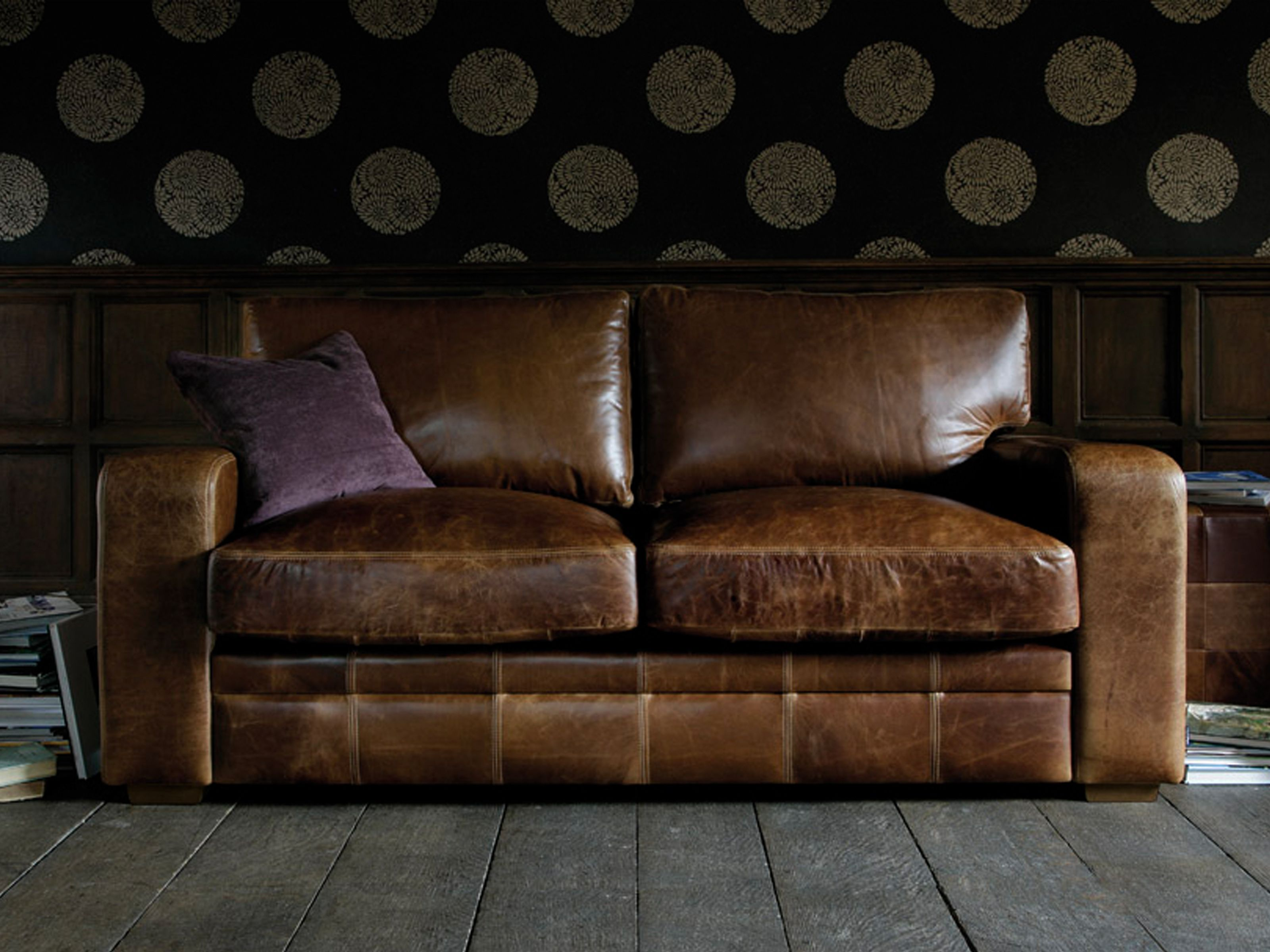 vintage square leather sofa