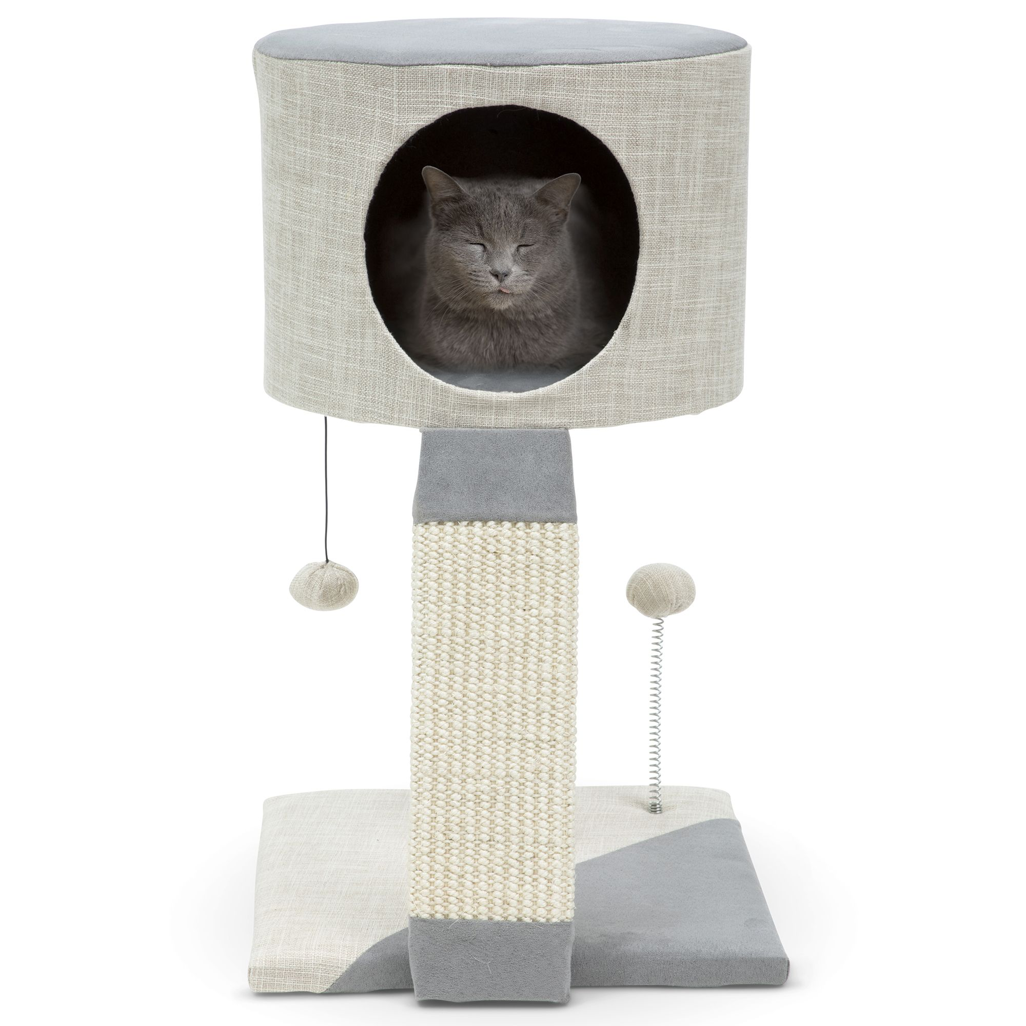 Only For Kittens Or Small Cats Stylish Minimalist Kitten Condo Scratching Post Cat Bed Cat Tree Tower And House With Sisal Scratch Post Mu Funny Cool