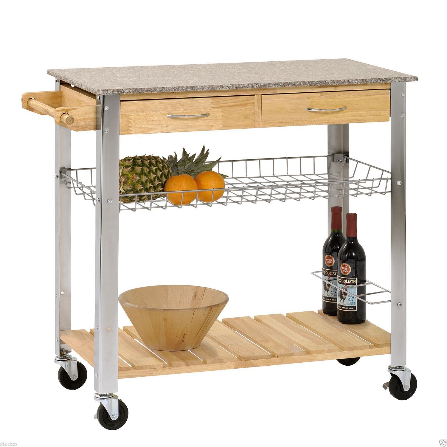 New Kitchen Trolley Rolling Cart Wood Steel Legs 2 Storage Drawer Marble Top Ebay