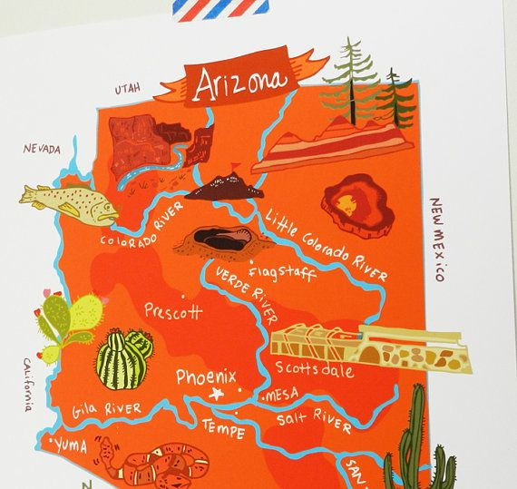 Arizona Illustrated X Map Illustrated Maps Travel Usa And - Usa map with compass