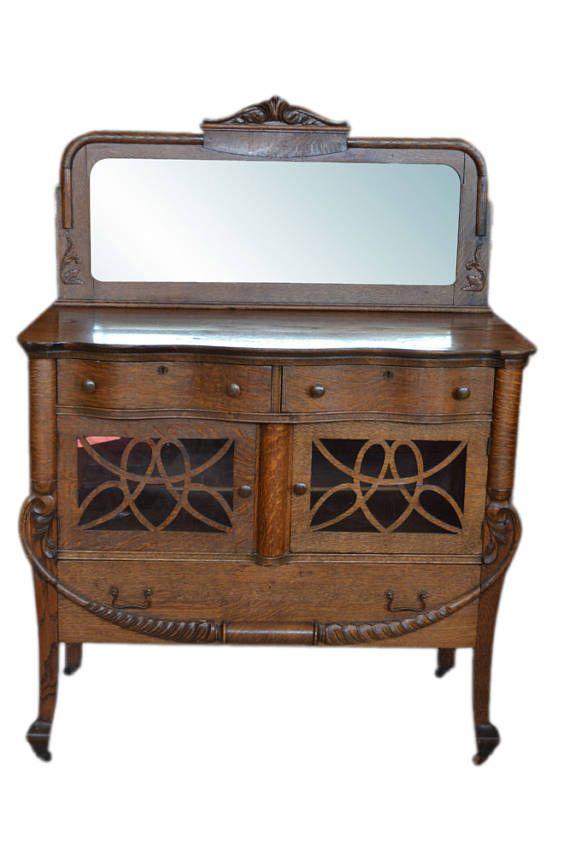 Antique Petite Golden Oak Era Tiger Oak Sideboard, Mirror, Circa - sideboard für küche