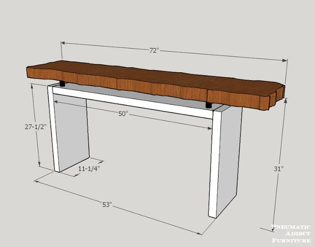 Pneumatic Addict Floating Top Console Table Building Plans - How to build a console table