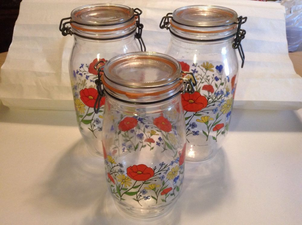 Vintage Set Of (3) Canister Arc Glass Mason Jars Made In France Poppies Design #Mason