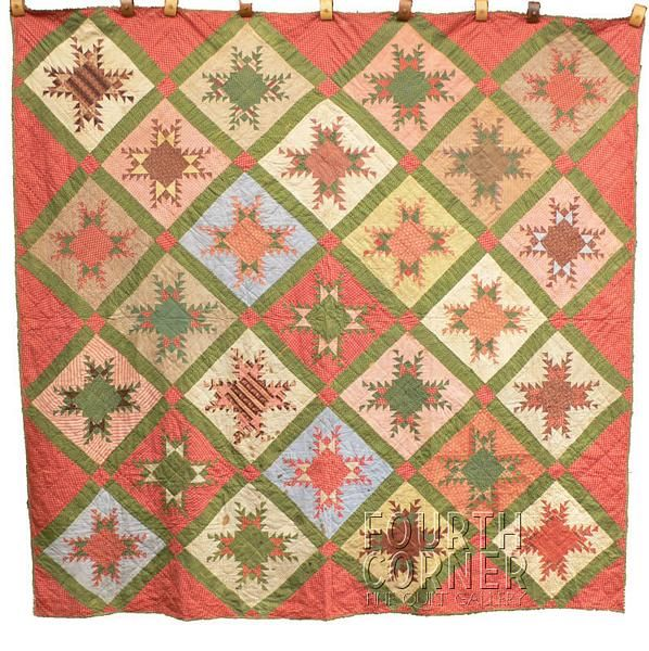 Striking NJ Feathered Star Fabric Lover's Scrapbag Antique 1870's Calico Quilt | eBay