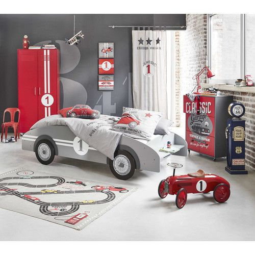 lit voiture enfant 90 x 190 cm en bois gris circuit. Black Bedroom Furniture Sets. Home Design Ideas