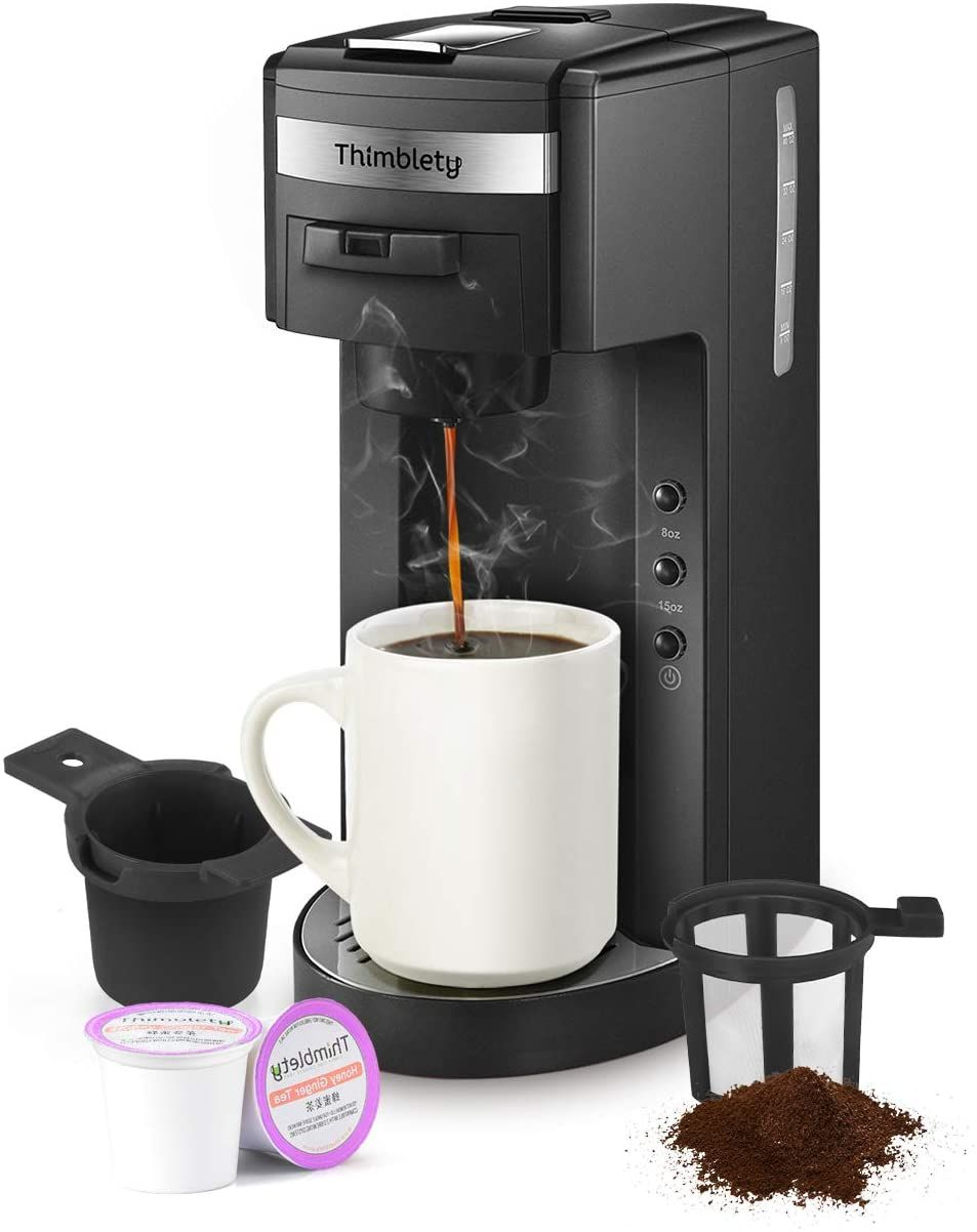 8 to 15oz.Brew Sizes,Reusable Filter/&Travel Mug,40 Oz Reservoir,Black Black K-Cup Pods,Grounds/&Loose-Leaf Tea Coffee Maker,Thimblety Coffee Machine,Single Serve Coffee Brewer for K-Cup Pods Compact 4 in 1