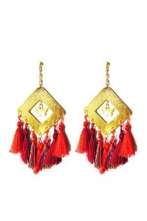 c661fe114848 Aretes Rombo borlas rojas Alejandra VALDIVIESO Maxi Earrings ...