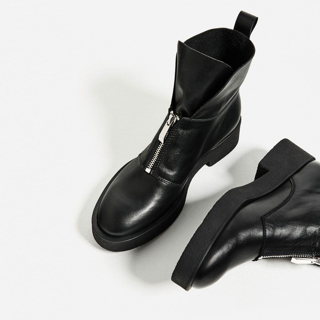 LEATHER ANKLE BOOTS WITH ZIP-Ankle boots-SHOES-WOMAN | ZARA United States